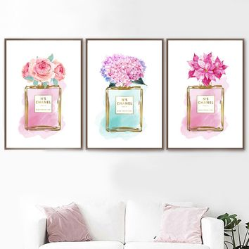 Watercolor Cherry Peony Flower Perfume Wall Art Canvas Painting Nordic Posters And Prints Salon Wall Pictures For Bedroom Decor