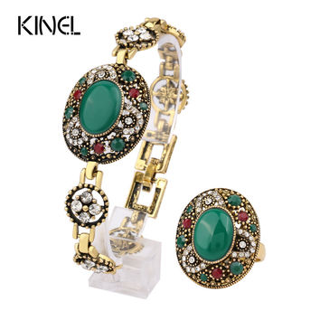 Kinel Brands Turkey Jewelry Sets Turquoise Bracelets And Rings For Women Gold-Plated Oval Main Stone Crystal Party Gifts