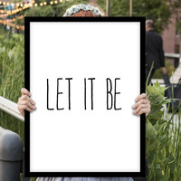 "Typography Poster Inspirational Quote ""Let It Be"" Wall Decor The Beatles Motivational Print Home Decor Wall Art Fall Trends Autumn Trends"