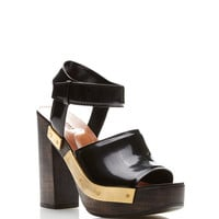 Black Leather Chunky Wooden Heeled Sandals