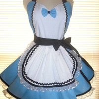 Retro Alice in Wonderland Inspired French Maid Apron Blue and White Trimmed in Black