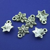 70pcs Tibetan silver hexagon charms findings h1495 | jewelrystoresusa - Jewelry Supplies on ArtFire