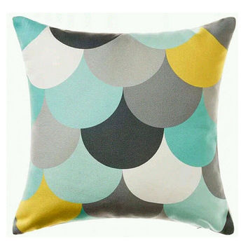 Geometry Pattern Decorative Pillow, Green Grey White Blue Pillow Cover, Throw Pillow, Toss Pillow, Sofa Pillow