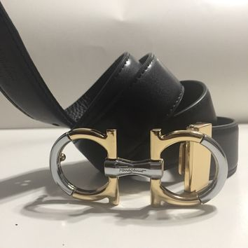 Salvatore Ferragamo Black Small Gold & Silver Buckle 34 inches Belt Unisex