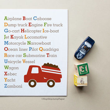 Alphabet Art Truck Transportation - Children Art Poster - Nursery Kids Wall Art Room Decor Baby Shower Gift