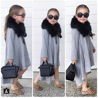 2017 Baby Girl Dress Black Gray Kids Clothes Party Costume For Girl School Dress Children Baby Warm Long Sleeve Dress 2-7 Years