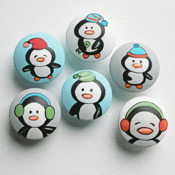 Hand Painted Penguin Drawer Pulls / Dresser Knobs for Kids and Nursery Rooms