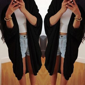 FASHION LOOSE BAT SLEEVE COAT