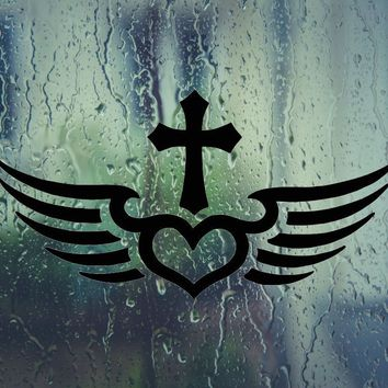 Bible Cross with Heart Wings Die Cut Vinyl Wall Decal - Permanent Sticker