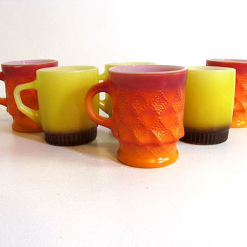 Vintage FireKing anchor hocking Mugs Cups // set of 6