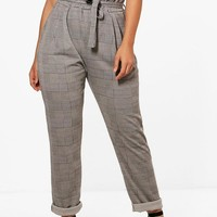 Plus Check Paperbag Tapered Trouser | Boohoo