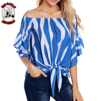 New fashion stripe shoulder top women Blue