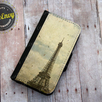 Vintage Paris Eiffel Tower Apple iPhone 5/5s Wallet case