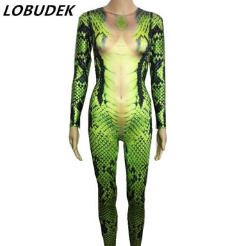 green snake 3D printing jumpsuit sexy stretch elastic prom party Nightclub Bar Cosplay role costume singer stage show Romper