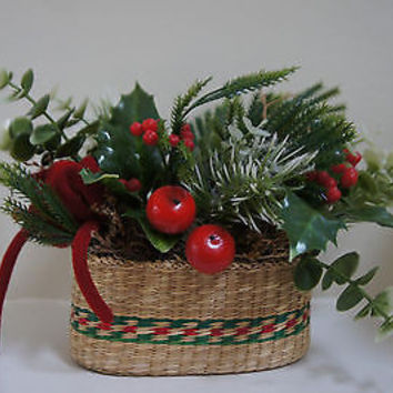 Holiday Center Piece Basket Holly & Berries Pine White Flowers with Red Ribbon