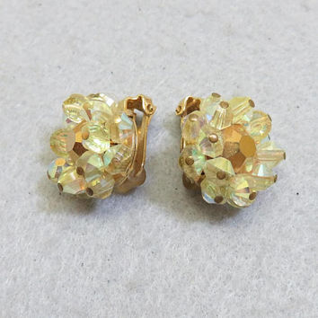 HOBE' Yellow Crystal Gold  Rhinestone Clip On Earrings, Gorgeous, 1960's Vintage