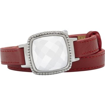 Ela Stainless Steel Cushion Italian Marble Agate Red Leather Wrap Bracelet
