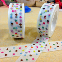 1.5CM Wide Fresh Style Colorful Dots Washi Tape DIY Scrapbooking Sticker Label Masking Tape School Office Supply