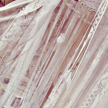 Crib Canopy with Mosquito Net - Boho Crib Baldachin - Bohemian Bed Crown - Boho Nursery Decor - Bed Tent - White Lace Canopy