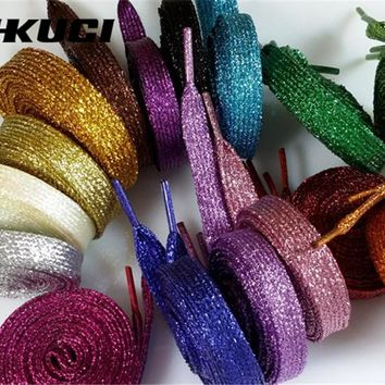 1 Pair  shoe laces Shiny Glitter flat shoe  Sports Shoelace