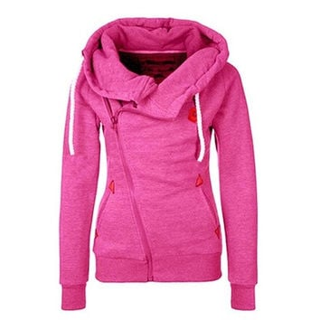 WAQIA 2015 new European sports personality side zipper hooded cardigan sweater jacket [8805164423]