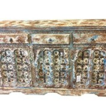 Antique Sideboard Media Console Buffet Distressed Blue Patina India Furniture | Mogul Interior