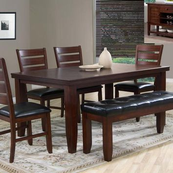 6 pc bardstown dark wood finish dining table set with vinyl upholstered chairs