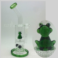 Two functions funny Green Frog Glass Water Pipes dab oil rig bongs Honeycomb Layer Filter Bong Diffuser Percolator Hookah animal bongs