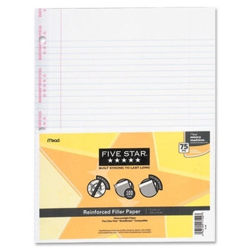 mead notebook paper, reinforced, college ruled 100 sht/pk, white Case of 6