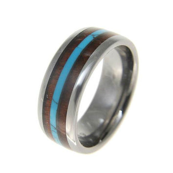 HELIOS Tungsten Wedding Band With Hawaiian Koa Wood Inlay & Turquoise Center 8mm