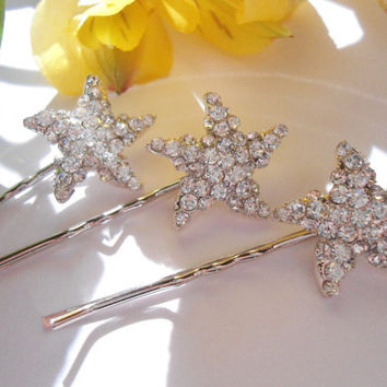 Starfish Hair Pin, Bridal Hair pin with Starfish, Starfish Hair clip, Bobby Pin Starfish, Beach Wedding Hair Pin - SET OF 3