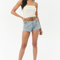 Crochet Open-Knit Cropped Tube Top