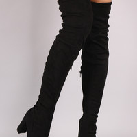 Liliana Suede Drawstring Tie Chunky Heeled Over-The-Knee Boots