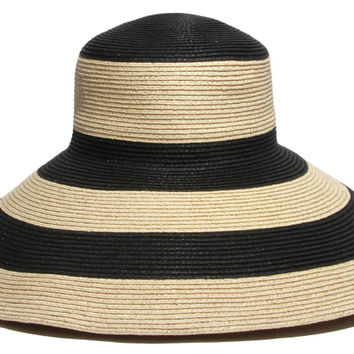 Breton Wide Brim Straw Hat, Black/Gold, Hats