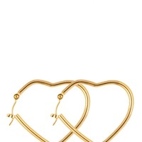 goldear17 - 14Kt Gold Plated Earring Pair - Heart Hoop 648-100
