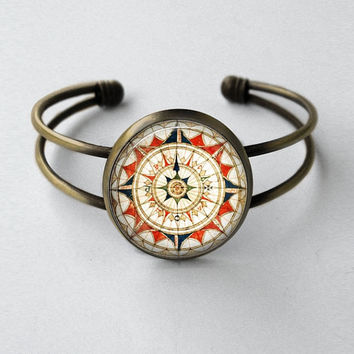 Mariner's Compass Rose Nautical Jewelry Vintage Style Bronze Cuff Bracelet