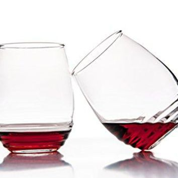 Set of 4  All Purpose Stemless Wine Glasses 17 Ounce  For Red Wine or White Wine  Eco Friendly Made Glass