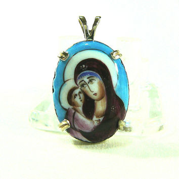 Hand Painted Cameo Mary & Child Spiritual Pendant Necklace Sterling Silver Prong Setting Original Art Jewelry Religious Gift