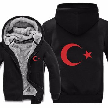 Winter Hoodies Jacket Men Casual Thick Fleece Country Flag Turkey Sweatshirts Pullover Man Coat