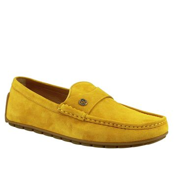 Gucci Silver Interlocking G Yellow Suede Leather Loafer Shoes 386587 7008