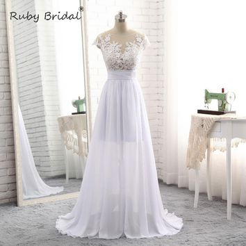 Ruby Bridal High Quality Sleeveless Lace Scoop Sweep Floor-Length Zipper A-Line Appliques Pattern Scoop Wedding Dress xk025