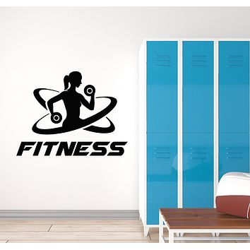 Vinyl Wall Decal Fitness Girl Woman Sports Healthy Lifestyle Home Gym Stickers Mural (g723)