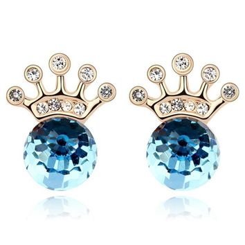 Swarovski Stud Earrings Imperial Crown Gold Plated Blue Crystal Rhinestones Jewelry For Women
