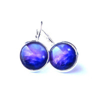 Navy blue galaxy earrings- Blue cloud earrings- Space jewelry- Stars jewelry- Galaxy jewelry- free shipping