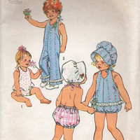 Baby Girl Toddler Jumpsuit Romper Bonnet 1970s Simplicity Sewing Pattern One Piece Playsuit Uncut Size 6 Months