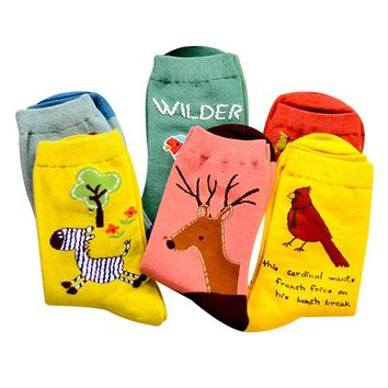 Cute Animal Owl Parrot Jacquard Embroidery Socks Funny Crazy Cool Novelty Cute Fun Funky Colorful