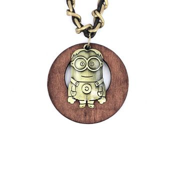 Antique Vintage Long Rope Chain Necklace Wooden antique bronze Alloy Minions Pendants Neckless Cord Jewelry Accessories