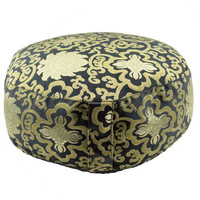 Deluxe Black Meditation Cushion Zafu Pillow with Gold Lotus Brocade (Round)