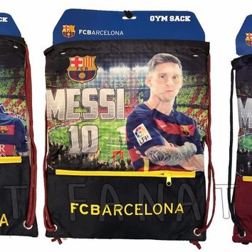 fc Barcelona Messi Backpack Soccer Book Bag Gym  drawstring Authentic Official