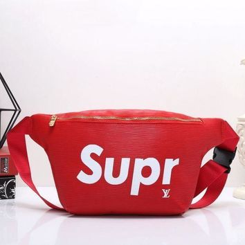 Lv X Supreme Women's High Quality Fashionable Leather Wallet Waist Shoulder Bag F Red